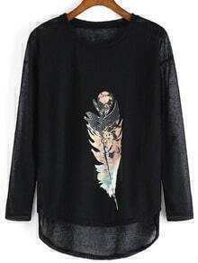 Black Long Sleeve Feather Print Loose T-Shirt
