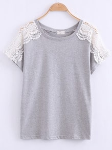 Grey Lace Short Sleeve Loose T-Shirt