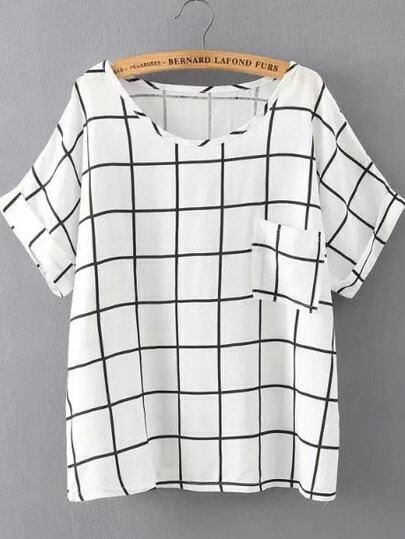 White Black Short Sleeve Plaid Pocket T-Shirt
