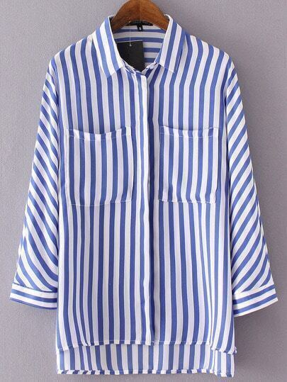 Blue Lapel Vertical Stripe Dip Hem Blouse