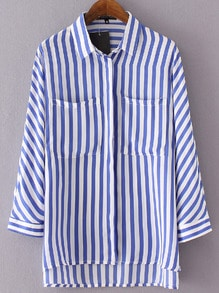 Blue Lapel Vertical Stripe Dip Hem Blouse
