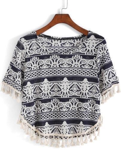 Royal Blue Short Sleeve Tassel Crop T-Shirt