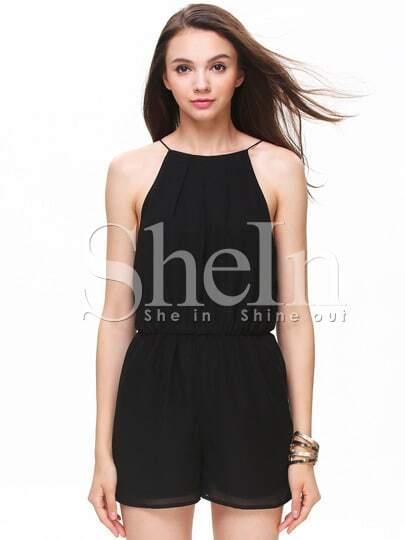 Black Sleeveless Halter Keyhole Back Jumpsuit