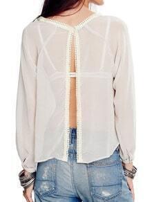 White Long Sleeve Split Back Blouse