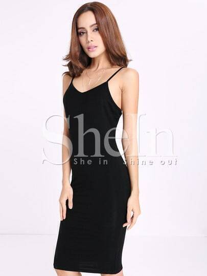 Black Spaghetti Strap Sheath Dress