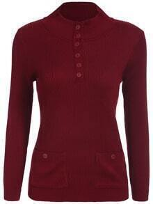 Wine Red Stand Collar With Buttons Pockets Sweater