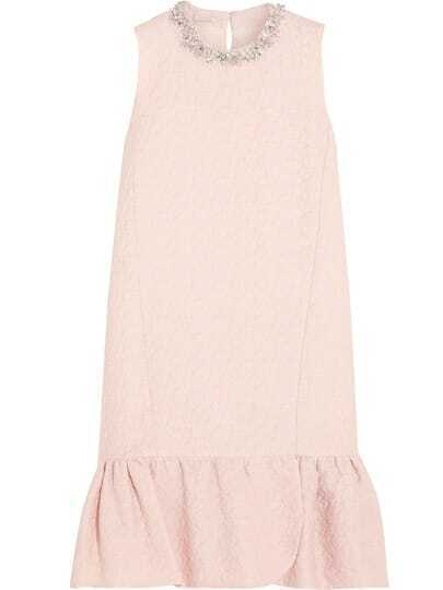 Pink Round Neck Sleeveless Beading Fishtail Dress