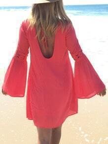 Red Melon Cerise Long Sleeve Backless Beachdresses Dress