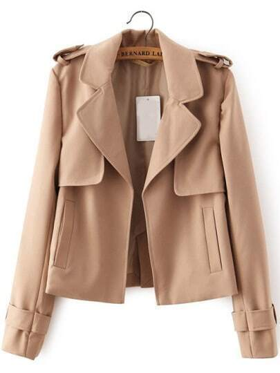 Apricot Lapel With Pockets Coat