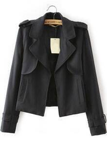 Black Lapel With Pockets Coat