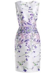 White Round Neck Sleeveless Vintage Print Bodycon Dress