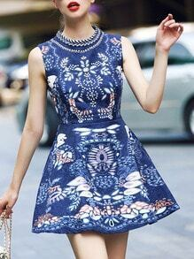 Blue Stand Collar Sleeveless Print Dress