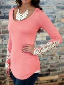 Red Scoop Neck Lace Long Sleeve Slim Blouse