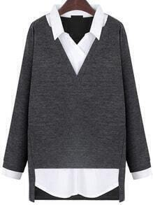 Grey Lapel Long Sleeve Loose Blouse