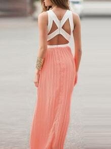 Pink Convertible Sleeveless Color Block Pleated Maxi Dress