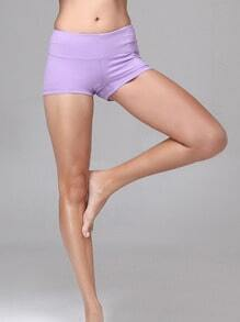 Pale Purple Elastic Sports Shorts