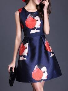 Navy Round Neck Sleeveless Print Flare Dress