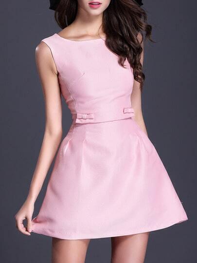 Pink Round Neck Sleeveless Backless Flare Dress