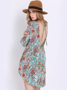 Multicolor Long Sleeve Paisley Print Dress
