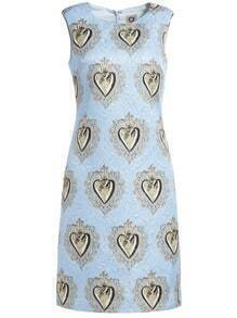 Blue Round Neck Sleeveless Print Dress