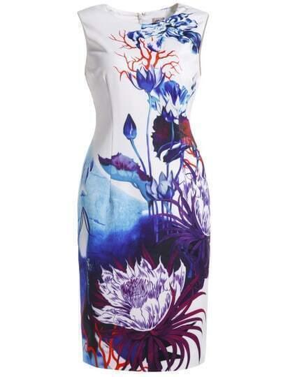 White Round Neck Sleeveless Floral Print Bodycon Dress