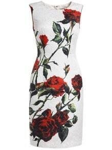 White Round Neck Sleeveless Rose Print Dress