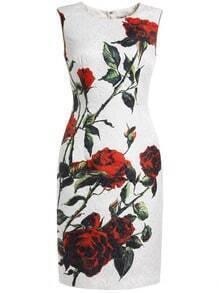 White Round Neck Sleeveless Rose Print Dress