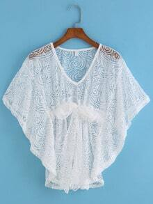 White Deep Plunge Neck Lace Loose Top