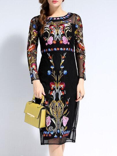 Black Long Sleeve Backless Contrast Gauze Embroidered Dress
