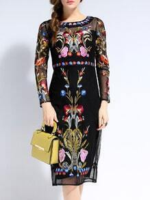 Black Long Sleeve Backless Contrast Gauze Embroidered Dress