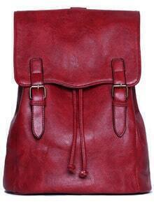 Red Belt Buckle PU Backpacks -SheIn(Sheinside)
