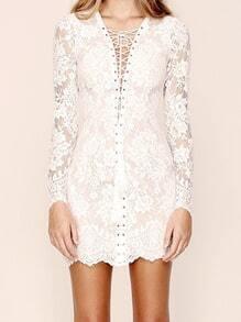 White Hollow Lace Bandage Bodycon Dress