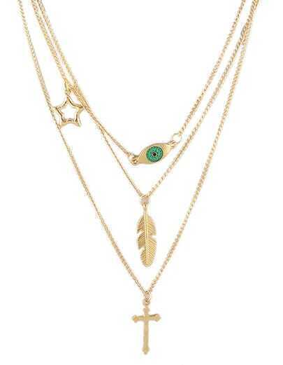 Three Layers Gold Chain Necklace