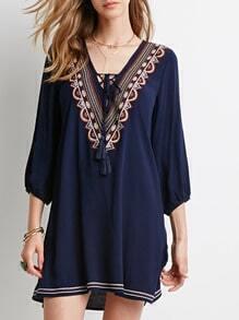 Navy Long Sleeve V Neck Embroidered Dress
