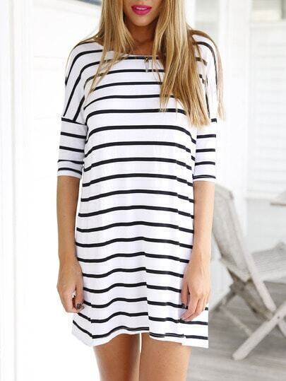 White Half Sleeve Striped Dress pictures
