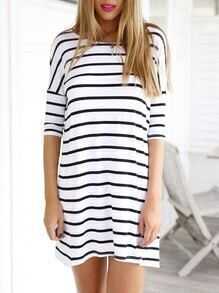 White Half Sleeve Striped Dress