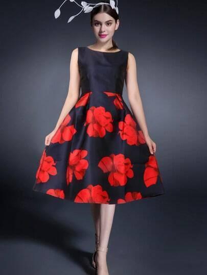 Vestito smanicato a fiori nero & rosso