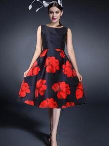 Black Red Round Neck Sleeveless Patterned Floral Dress