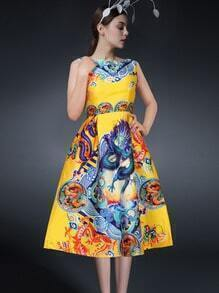 Multicolor Sleeveless Dragon Print Flare Dress