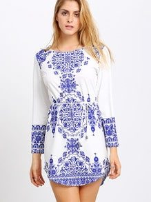 Blue Chemise Long Sleeve With Belt Vintage Print Dress