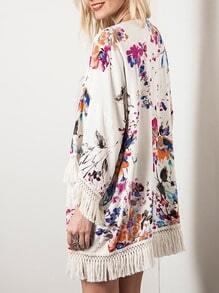 Apricot Long Sleeve Floral Print Tassel Kimono