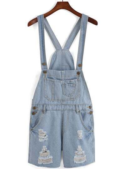 Sky Blue Overalls Pocket Jumpsuits
