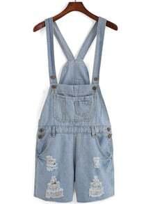 Sky Blue Overalls Pocket Jumpsuits