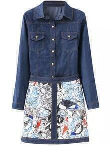 Navy Lapel Pockets Denim Top With Floral Skirt