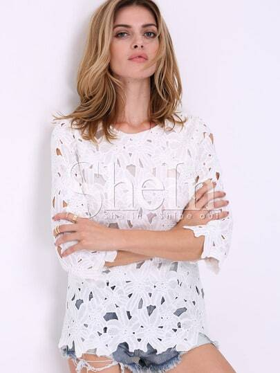 White Half Sleeve Floral Crochet Blouse pictures
