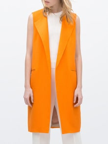 Yellow Lapel Edge Pockets Vest