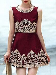Wine Red Round Neck Sleeveless Embroidered Dress