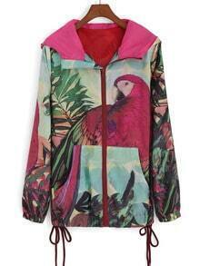 Multicolor Hooded Parrot Print Pockets Coat