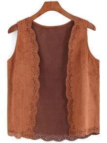Khaki Hollow Peplum Trims Vest