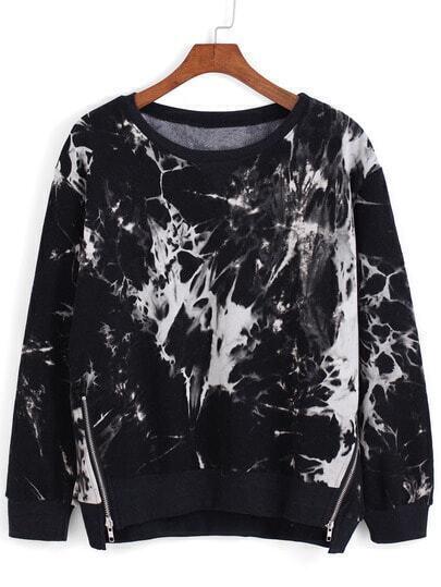 Black Round Neck Floral Zipper Sweatshirt